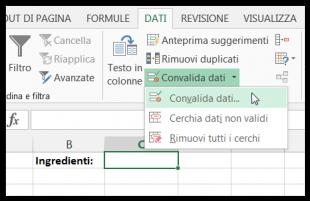 Per creare il menu a discesa cliccate su Convalida dati nella scheda DATI