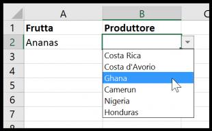 Il menu a discesa concatenato in Excel