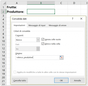 Impostare la convalida dati per l'elenco a discesa dinamico dipendente