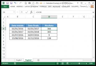 Calcolare il numero di giorni tra due date