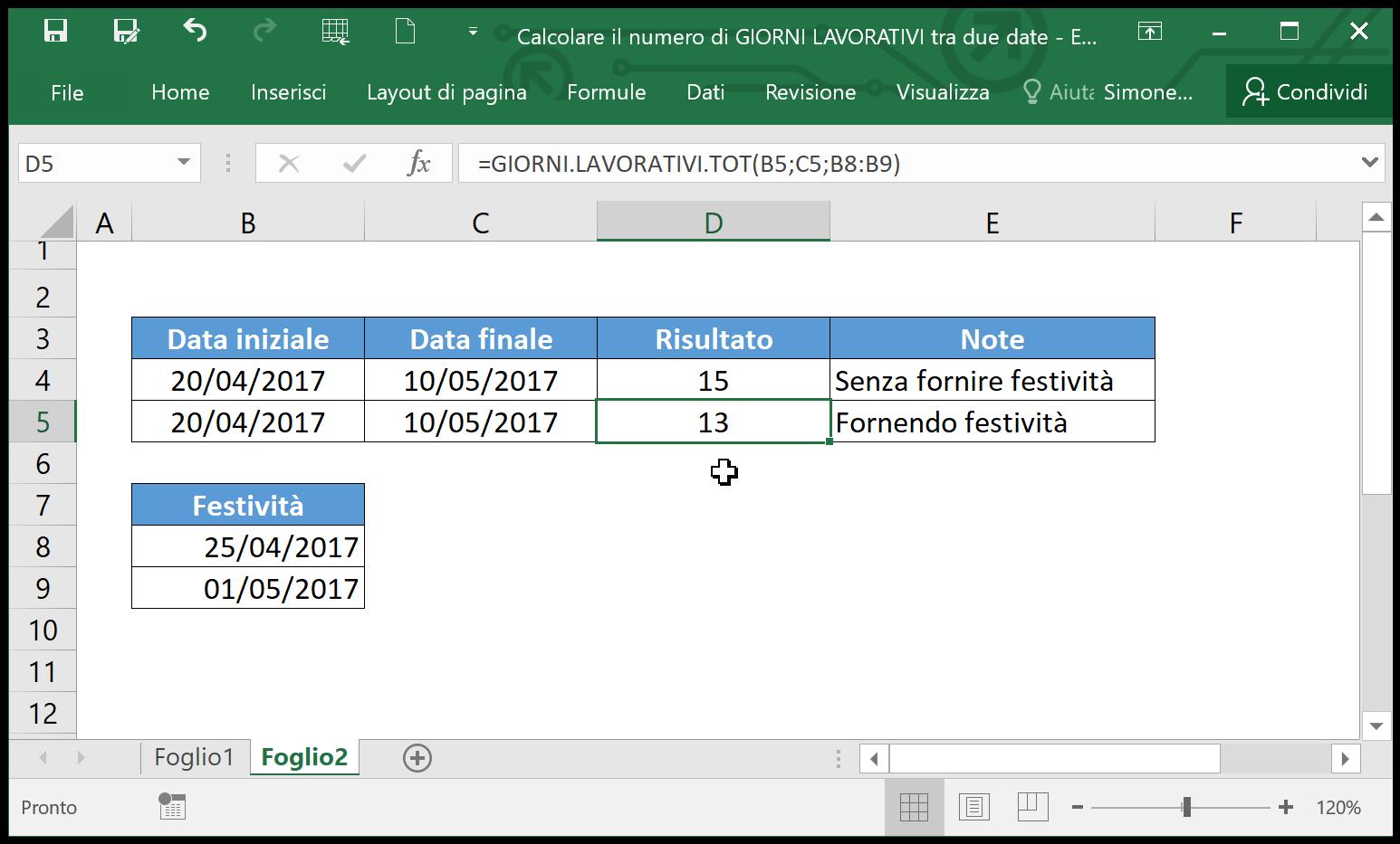 buy online fdbfd d09b3 Excel - Come calcolare il numero di giorni lavorativi tra ...