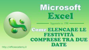#Excel - Come elencare le festività comprese tra due date 26