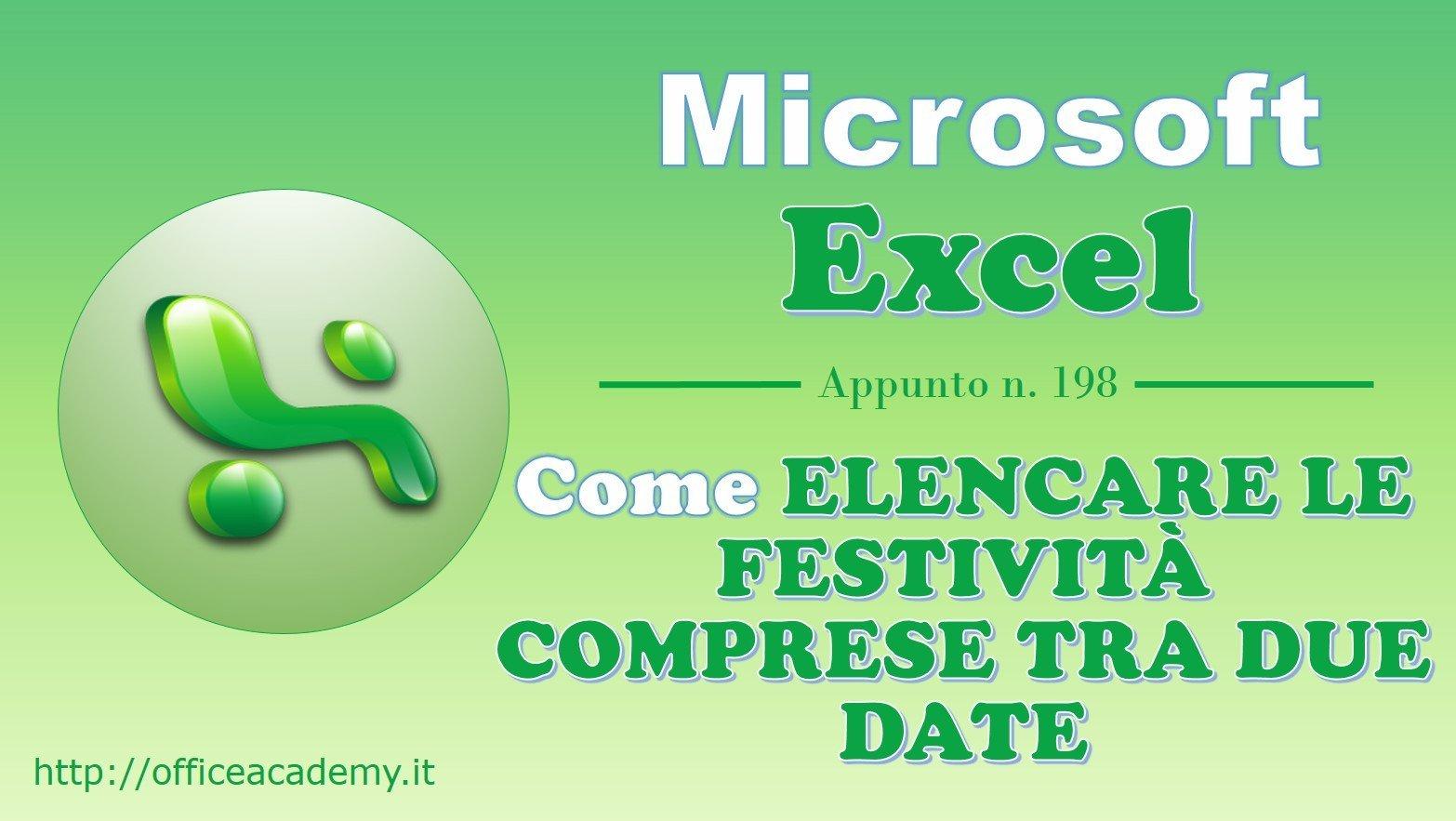 #Excel - Come elencare le festività comprese tra due date 2