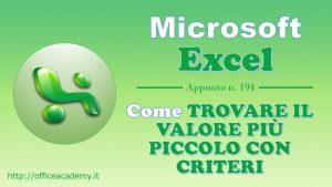 #Excel – Come trovare il valore più piccolo con criteri