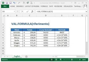 La funzione VAL.FORMULA
