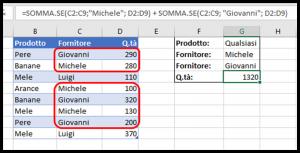 Formula SOMMA.SE con diversi criteri O