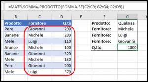Somma con criteri multipli usando MATR.SOMMA.PRODOTTO e SOMMA.SE