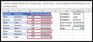 La formula MATR.SOMMA.PRODOTTO per sommare valori con condizioni O multiple