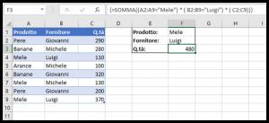 Un esempio di utilizzo di SOMMA in una formula matriciale