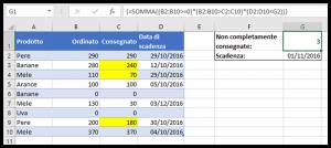 Un esempio di formula matriciale con SOMMA in Excel 2016