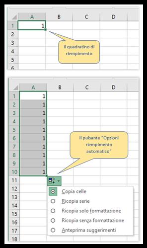 Il Riempimento automatico di base in Excel