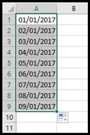 Il Riempimento automatico con le date