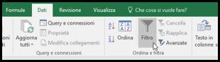 Il comando Filtro della barra multifunzione di Excel