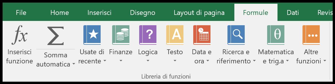 La libreria funzioni della barra multifunzione di Excel