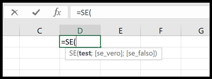 Inserire una formula direttamente nella barra della formula