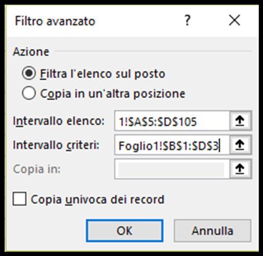 La finestra di dialogo Filtro avanzato di Excel