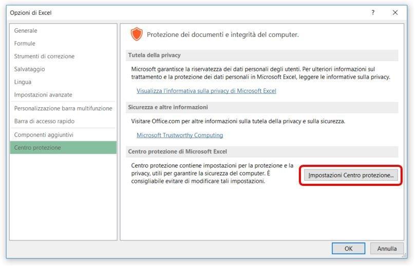 Configurare Excel per consentire le macro 2