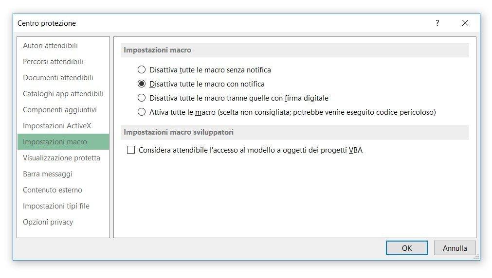 Configurare Excel per consentire le macro 3