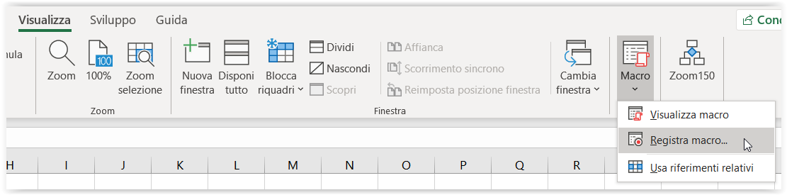 Registrare una macro in Excel 1