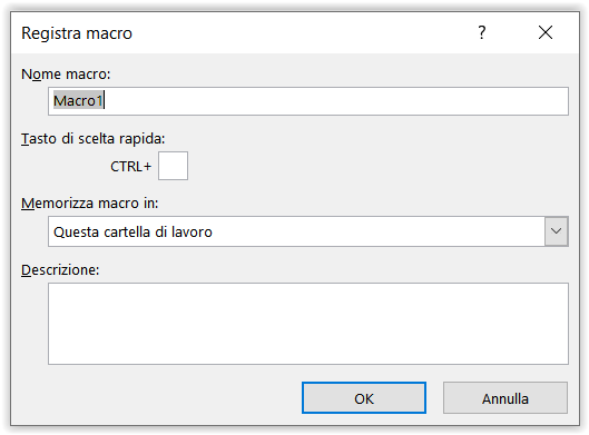 Registrare una macro in Excel 2