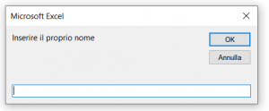Esempio di una semplice InputBox che richiede il nome utente