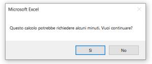 Esempio di una finestra di messaggio Si/No prodotta dalla funzione MsgBox