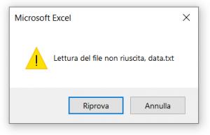 Esempio di una finestra di messaggio Riprova/Annulla prodotta dalla funzione VBA MsgBox